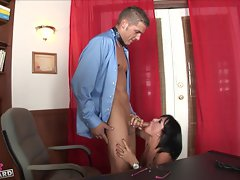 Tory Lane sucks on a thick meaty cock loving every minute of it