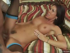 Naughty Tabitha Stevens sucks a cock and gets a cumshot