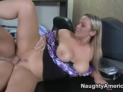 Abbey Brooks, horny blonde, getting fucked one on one, on office table