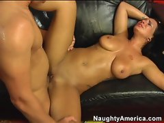 Big titted Kitty Bella takes a hard cock then a jizz load on her boobs