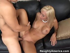 Smoking hot Jessica Lynn gets her little pussy banged by a big dick