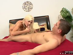 Sexy Puma Swede gives a awesome blow-job to a massive hard dick until it cums
