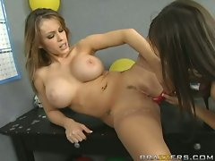 April ONeil fucks Jenna Presley's pussy hard with this dildo