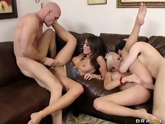 Booby Shawna Lenee with bubble butt gets fucked by her friend on the couch