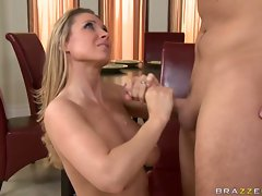 Blonde babe Devon Lee is ass fucked and gets her big titties blasted with cum