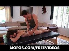 Stunning brunette Latina Alexa Rydell gets a massage
