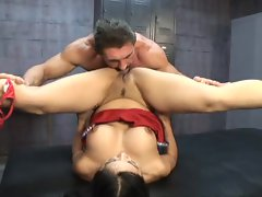 Flexible cheerleader Mika Tan fucks a muscly dude