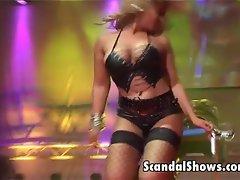 Busty blonde striper dances like a slut