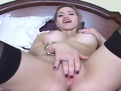 A steaming hot slut wearing sexy pantyhose takes a pounding from a hard cock