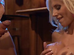 Sexy Puma Swede gets on her pussy stuffed with cock while out at a bar
