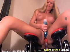 Blond Rides Dildo Fuck Machine HD