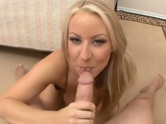 Big jugged blonde Carolyn Reece titty fucks a dick till it milks and gives cream