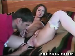 Pussy Licked And Cock Sucking Stockinged Babe