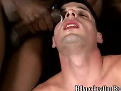 Gay twink interracial group ass fuck facial