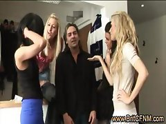 Unlucky guy in trouble stripped by CFNM babes