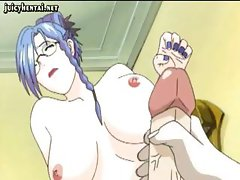 Busty anime shemale sucks his cock and then sticks his huge one out