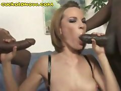 Short-haired sexy skank gets some black dick lovin' while her hubby watches