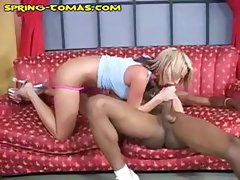 Spring Thomas is a yummy blonde porn babe who loves to get it on with black monster cocks