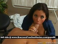 Adorable brunette chick on a hospital bed gets a blowjob