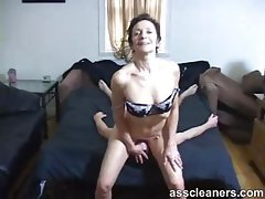 Horny old mistress got ass licked by a young ass cleaner