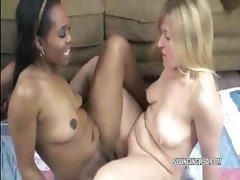 Lesbian Liisa shares her dildo with ebony Kelly
