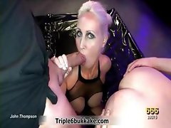 Nasty German blonde slut loves licking part1