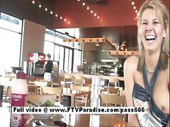 Desiree hot blonde girl talking in a diner