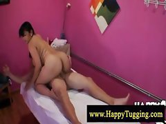 Plumper asian cock massage