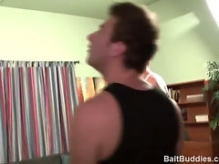 Blue eyed str8 boy next door type with 8.5in cock gets fucked by handsome blond bi muscle stud.