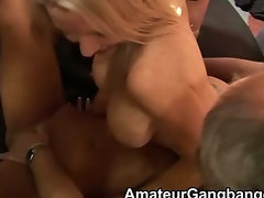 Two blondes are gangbanged and get cum on their stomachs