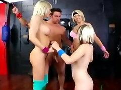 Slutty Blondes Share Bound Cock