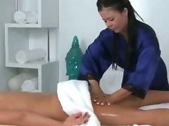 Hot girl massaged by sexy skilled babe masseuse