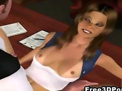 Foxy 3D cartoon hottie sucks and fucks at the office