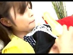 Japanese chick loves her toys