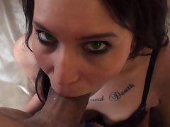 Sexy brunette girl sucks a big fat cock and then gets anal fucked