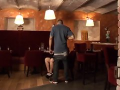 sex au resto, gangbang of a french mature in a restaurant
