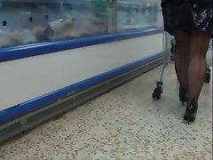 Black seamed stockings black pvc mini skirt  p2