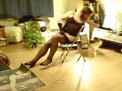 Stockings, garter belt and naked butt