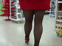 Red mini dress and black stockings