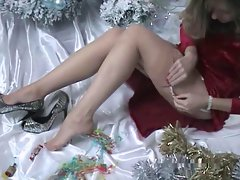 Sexy mature XMAS special tease - FF stockings high heels
