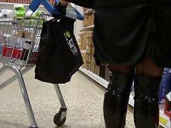 Shiny black boots seamed stockings  2