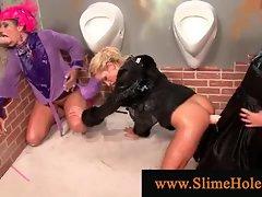 Three horny lesbians visiting gloryhole