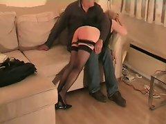natasha in heels and black stockings spanked
