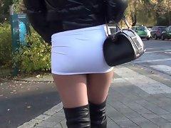 PUBLIC Sexy mini skirt &amp, overknee boots Gianmarco lorenzi