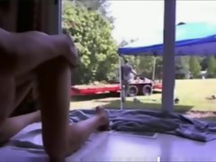 Squirting in front of the gardener