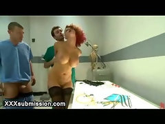 Busty bdsm redhead gangbang anal fucked and dominated