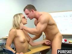 Blonde schoolgirl in glasses sucks a hard cock