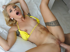 Hot blonde babe deep anal fucked until she almost faints