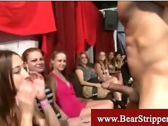 Cfnm ladies enjoys giving blowjobs to the strippers