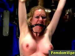 Tearful lezdom victim takes vibrator play